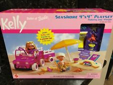 "Barbie KELLY Seashore 4"" x 4"" Playset w Jeep Wrangler Vehicle & 2001 Rare"