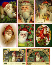 Christmas vintage Santa face pictures on cards scrapbooking crafts set of 8