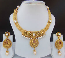 Indian Ethnic Jewelry Necklace Earrings 22k Gold Plated Bollywood Lovable Set dx