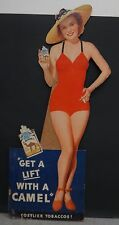 """1940's Vintage Camel Cigarette Pin Up Cardboard Advertising Display 36"""" Tall"""