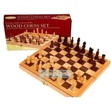 """Classic Wooden Chess Game Set 10.5"""" Folding Inlaid Wood Board Cabinet & Hand-Car"""