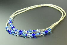 EYE CATCHING LADIES LONG FASHION NECKLACE,  BLUE CIRCLE BEADS (ZX1)