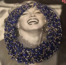 Vtg Mom's Necklace Woven Tones Of Lapis Glass Blue Silver Seed Style Beads