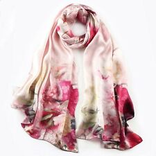 """100% Silk mulberry Women 68x20"""" Satin Scarf Large Shawl long Wrap red S121-010"""