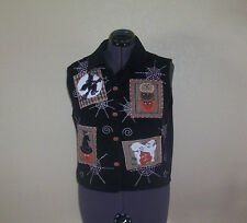 Womens TanTrum Hallowen Appliqued Black Corduroy Vest  Large