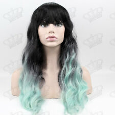 Ladies Lolita Ombre 1B/Pastel Mint Green Full Bang Loose Perm Wavy Synthetic Wig