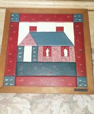 "Primitive Wall Art / ""House on the Hill"" /  Wood Wall Art / EWE Creations"
