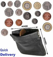 Coin money bag purse wallet pouch soft leather with closure men ladies UK sprgCn