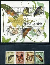 Gambia 3221-3225, MNH, Insects Butterflies, Moths 2009. x26141