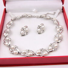 Pearl Necklace Earring Silver Plated Bridal African Wedding Party Jewelry sets