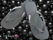 Crystal flip flops Havaianas or Wedge Silver with SWAROVSKI 4 rows Silver Night