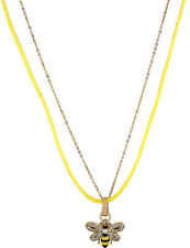 NWT Betsey Johnson Yellow Crystal Encrusted Bee Pendant Necklace MSRP $30.00