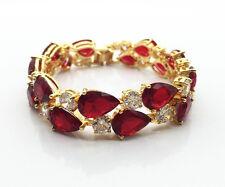 """14k Gold  Bracelet made w/ Swarovski Crystal Stone Red & Clear 7.5"""""""