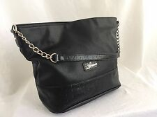 "GUESS Black Vegan Leather Tote Handbag Shoulder Purse Hobo 16""x12"" Chain"