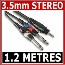 "HIGH QUALITY 3.5mm Mini STEREO Jack to 2x 6.35mm 1/4"" MONO Male Plugs Cable 1.2m"