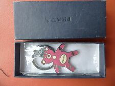Vintage Original PRADA Teddy Bear Pink Key Ring Holder Logo Keyring
