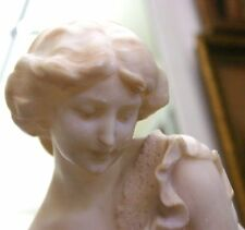 IMPORTANT 19C ITALIAN MARBLE & BRONZE STATUE OF GIRL SCARED OF A MOUSE