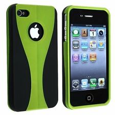 Green / Black Cup-shape Snap-on Rubber Coated Case for Apple iPhone 4/4S