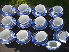 BOMBAY COMPANY BLUE & WHITE OVAL CHINA CUPS, SAUCERS, CREAMER, UNUSED CONDITION