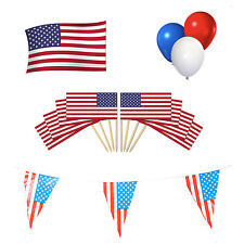 AMERICA/AMERICANO/USA Party Pack. Bunting bandiera + + Palloncini + Cocktail PICKS