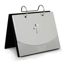 Personalizzato Inciso Argento CROCE in metallo-Album fotografico per BATTESIMO BOY GIRL