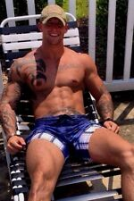 Shirtless Male Muscular Tattoo Hunk Beefcake Massive Muscle Guy PHOTO 4X6 C1661