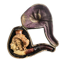 Continental Meerschaum Tobacco Smoking Pipe & Case, 19th C. Female Figural Head