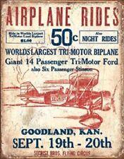 Airplane Rides Novelty TIN SIGN Vintage Garage Airport Biplane Wall Poster Decor