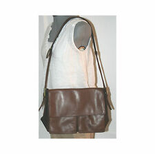 KENNETH COLE Brown Leather Satchel Handbag With Top Flap Closure