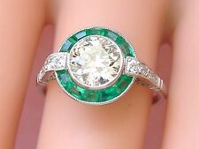 ESTATE ART DECO 1.39ct EUROPEAN DIAMOND EMERALD HALO ENGAGEMENT COCKTAIL RING