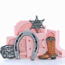 Western Silicone Mold Set Cowboy Boot Horse Shoe Badge Belt Buckle Moulds (254)