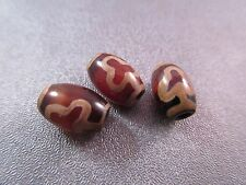 Mini Tibetan Bodhi Dzi Agate Beads 3pcs