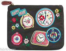 AUTHENTIC CATH KIDSTON COTTON ZIP PURSE CLOCKS PATCHES BLACK MAKE-UP BAG RRP £26