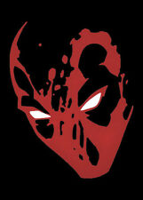 "RED w/white eyes Deadpool decal car window sticker 5""x6"" larger then others"