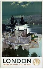 London Tower & Bridge (old rail ad.) fridge magnet   (se)