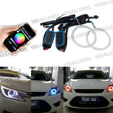 2x RGB 70MM COB LED Angel Eye Lights Halo Rings Phone APP Control Headlight DRL