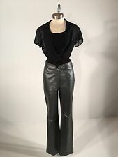 Women's Saks Fifth Ave. Folio Genuine Leather Gray Glossy Bootcut Pants Size 4