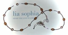 "NEW DEMO - LIA SOPHIA ""BROWN SUGAR'"" NECKLACE - AMBER CUT-CRYSTALS - 2007"
