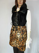 Ladies New Animal Faux Leather Sexy Long Sleeveless Jacket Coat sz L/XL AM44