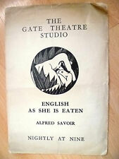 Gate Theatre Program 1930-THE LION TAMER or EGLISH AS SHE IS EATEN~Alfred Savoir
