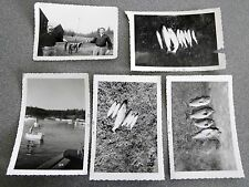 Vintage Black & White Photo Lot Of 5 Fishing Related Images Fish 50s Catch #2