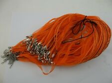 50pcs orange Organza Ribbon Necklace Silk Cord Clasp 430mm