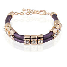 Purple Fashion PU Leather & Gold Rhinestones Wrap Woven Bracelet Bangle BB68