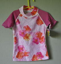 SUN PROTECTION ZONE SPF UPF Pink Floral Rash Guard Swim Surf Top Shirt sz 10