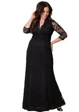Full Skirt Maxi Black Formal V Half Sleeve Lace Evening dress Plus Size 22W-24W