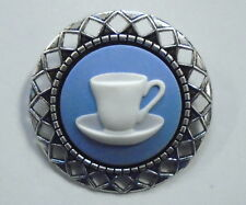 "Wedgwood Cameo in Silver-Toned Pin ""Teacup/ Coffee Cup"" Blue Jasperware"