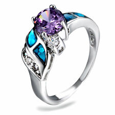 Blue Fire Opal Rainbow Topaz & CZ Women Jewelry Silver Plated Ring Size 8 PM04