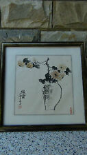 "ANTIQUE CHINESE ORIGINAL WATERCOLOR ON PAPER PAINTING ""VASE WITH FLIWERS""SIGNED"