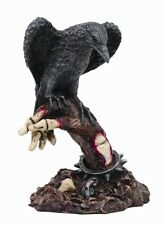 BLACK RAVEN PERCHING ON DEAD MAN SKELETON HAND FIGURINE STATUE.BIRD COLLECTIBLE