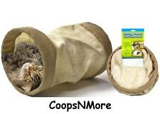 BURLAP CAT TUNNEL WITH CRINKLE SOUND FUN TUBE CONDO FOR CATS SCRATCH CATNIP FUN